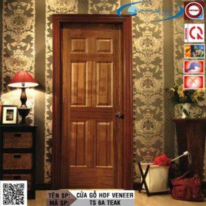 Cửa gỗ HDF Veneer TS 6A Teak