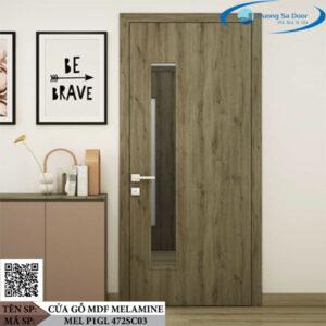 Cửa gỗ MDF Melamine MEL P1GL 472SC03